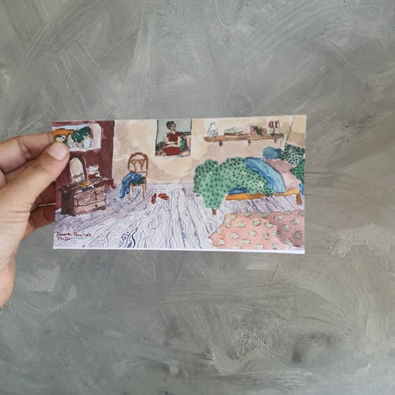 Postcard elongated drawing interior house village reproduction of one of my watercolours