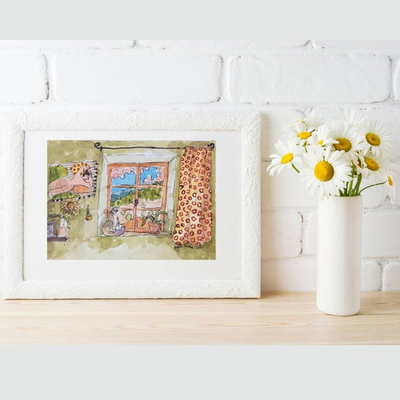 Watercolor Illustration window drawing French artist original artwork A5 small painting colored green