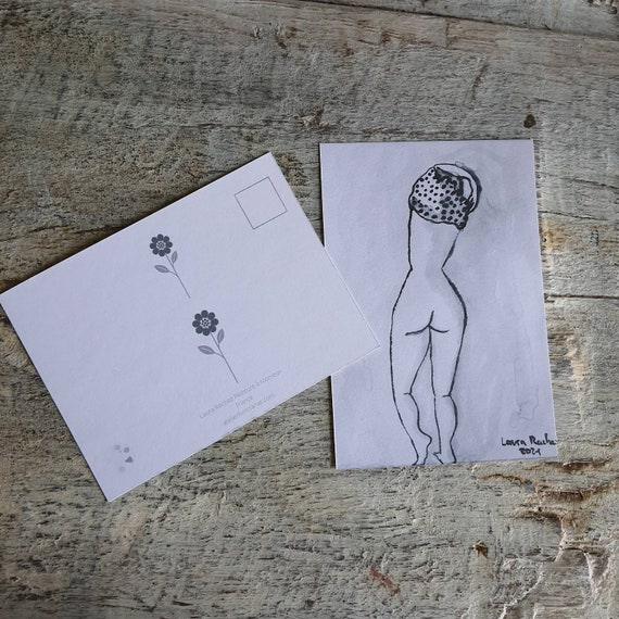 Postcard artistic nude drawing portrait of woman reproduction of one of my female nude drawing in Indian ink.