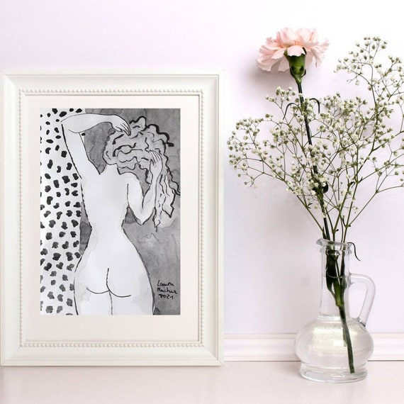 Nude drawing of female nude back Indian ink French artist. A4 original artwork poster art