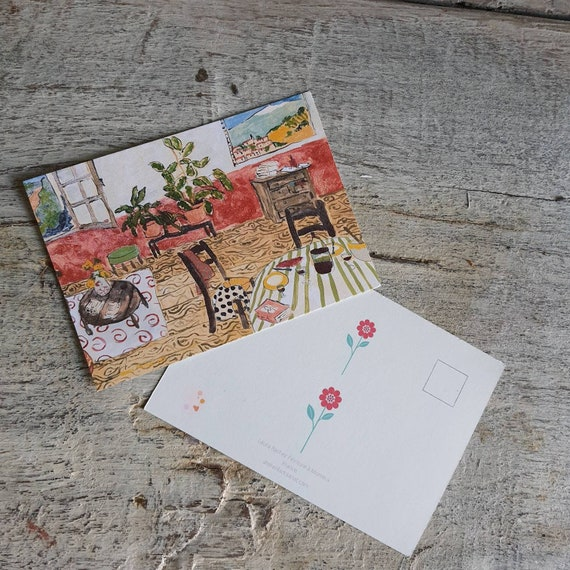 Postcard greeting card Christmas card home interior drawing oil painting red salon art artist