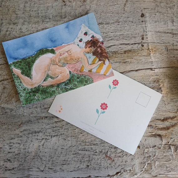 Postcard artistic nude drawing reproduction of one of my watercolors