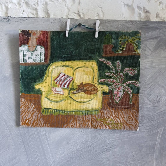 Small original oil painting small colorful green interior painting French artist