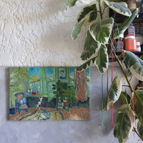 Oil on canvas original interior painting house drawing colorful green cat French artist