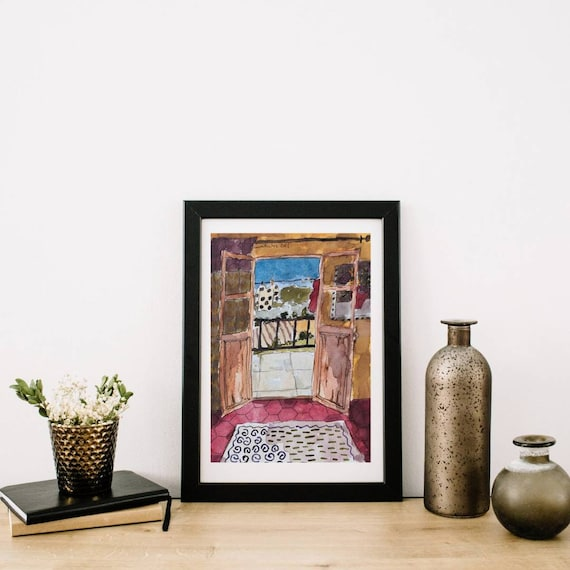 Watercolor Illustration drawing window village house landscape French artist original artwork A4 small colorful painting