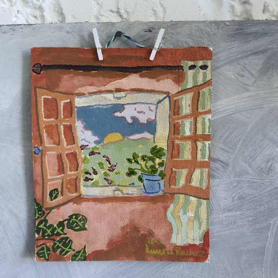 Small original oil painting small painting colorful window drawing French artist