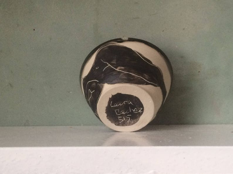 smooth black enamel lead handmade sleeping figure drawing. carved black slip for tea or coffee stoneware Bowl