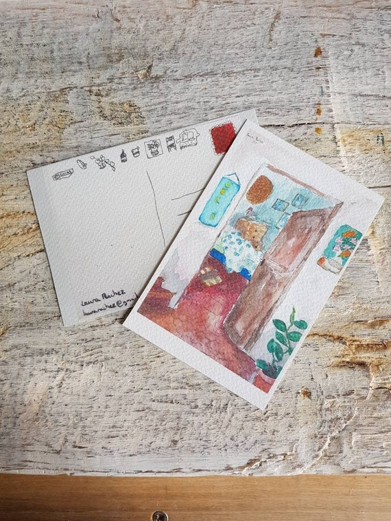 Postcard art reproduction I'm the author. Map represents a house interior illustration. Drawing on watercolour paper.