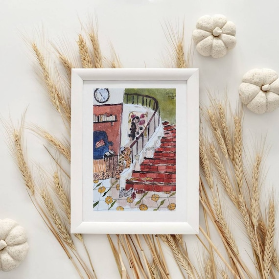 Watercolor Illustration portrait drawing woman staircase village house French artist original artwork A5 small colorful painting