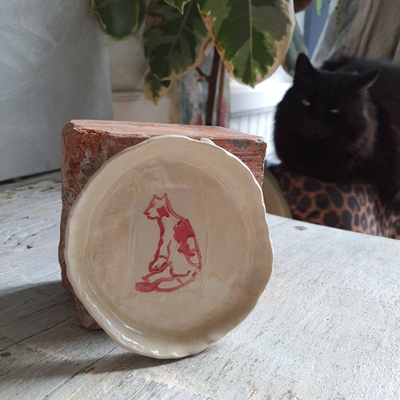 Cup pottery craft red and white drawing ceramic cat sandstone
