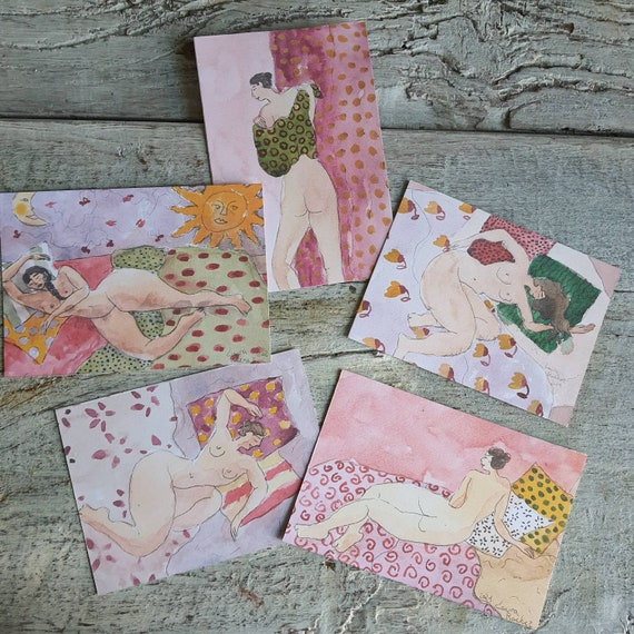 Lot postcard greeting card Christmas card artistic nude drawing reproduction of my female nude drawing watercolor woman art