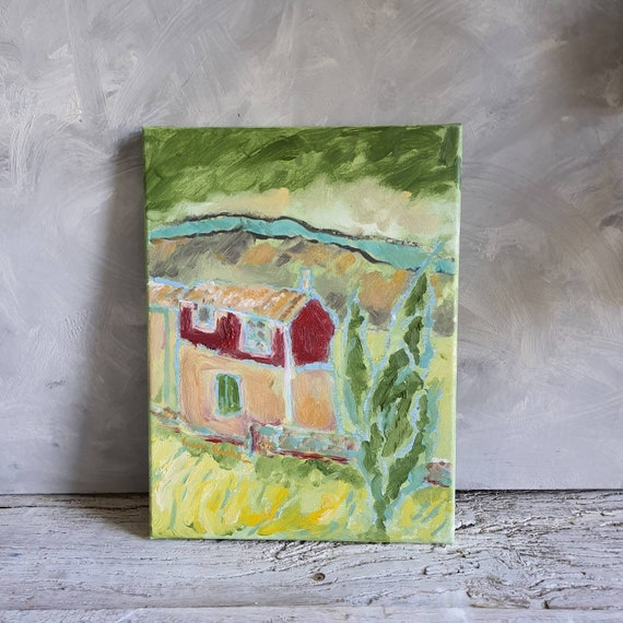 Oil on original canvas painting colorful green village house French artist