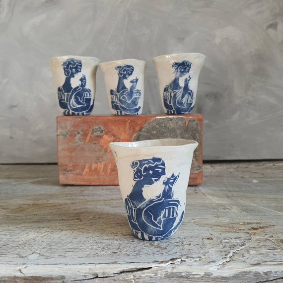 Handcrafted pottery cup 3t white cat drawing and blue cup ceramic tea coffee