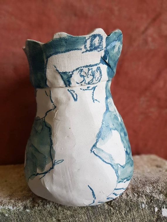 Sandstone vase craft pottery blue green design woman nude artistic
