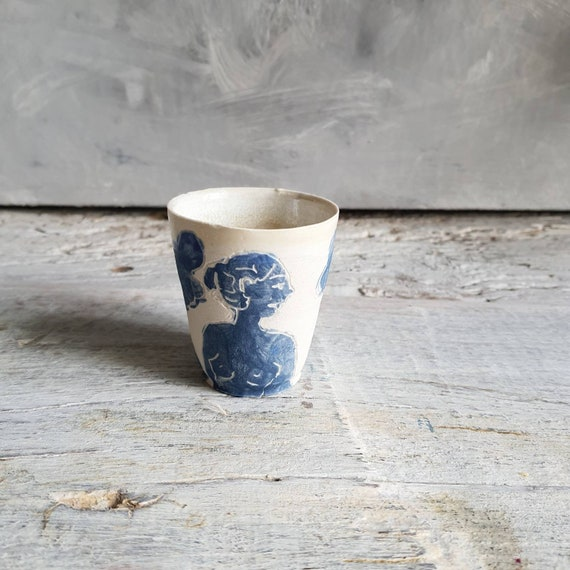 Espresso coffee cup artisan pottery tour blue and white woman art