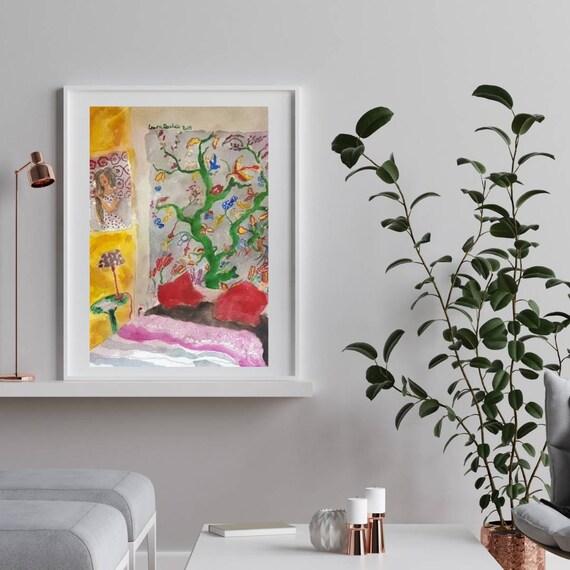 Tableau colorée aquarelle chambre dessin intérieur de maison artiste française