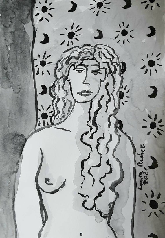 Nude drawing of female nude back moon and sun indian ink French artist. A4