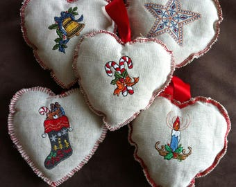 hearts fabric embroidered to hang on a door