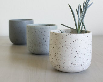 Speckled Ceramic Planter - Pottery - Clay Flower Pot - White Grey Blue Ombre Cool - Rustic - Modern Handmade - Plant/Succulent/Indoor Garden & Modern flower pot | Etsy