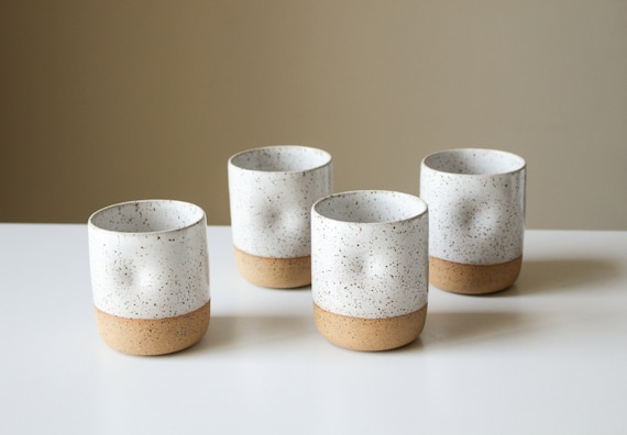 Speckled Ceramic Cup with Thumb Hold - Clay/Pottery - Dimpled Tumbler/Water Glass/Mug - White Glaze - Handmade - Wheel Thrown - Modern
