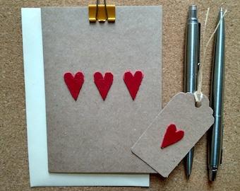 Handmade Leather anniversary card, third year anniversary card, leather card, leather anniversary gift, leather love card, three love hearts