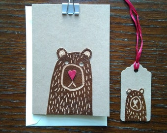 Bear Love Card - little leather bear handmade greetings card, bear animal lover card, 3rd year leather anniversary card, valentines day card