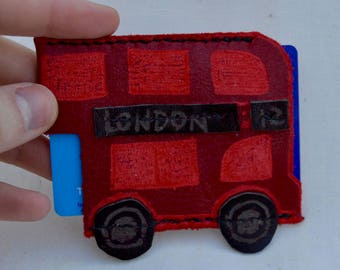 London Bus Oyster Card Holder, Travel Wallet, Bus Pass Holder, Metro Card Holder - handcrafted in leather