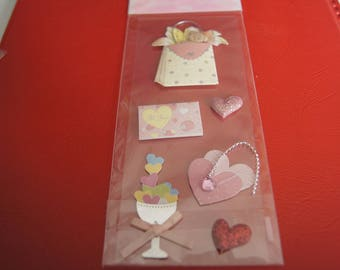 VALENTINE HEARTS 3D STICKERS