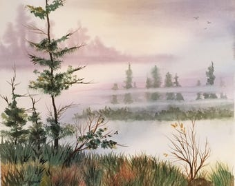 In the Mist | Calm | Serenity | Peaceful View | Misty Day | Trees in the Mist | Original Piece | Watercolor Scene