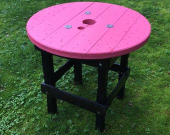 Cable Drum Table Pink/Black Beam Legs