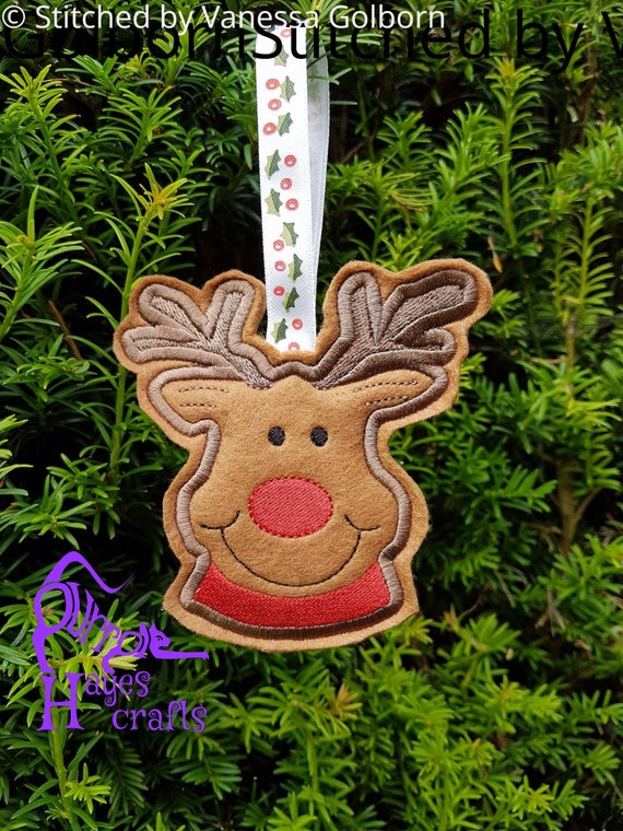 Rudolph Christmas Decorations.Ith Rudolph Reindeer Christmas Decoration Machine Embroidery Design
