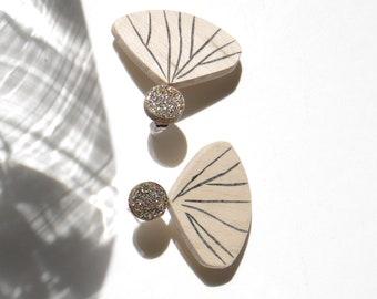Multicolored glitter metallic flower petal earrings