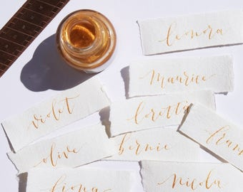 Wedding Place Cards, Calligraphy Cards, Wedding Calligraphy Cards, Place Cards, Handmade Paper, Gold, Ivory