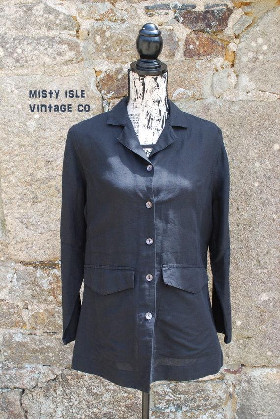 Black Linen Blouse, Size: Medium, Vintage Shirt, L