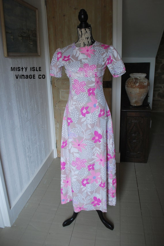 Vintage 1970s Floral Print Dress Size: Extra Small