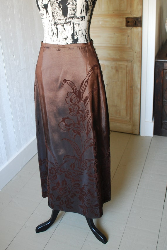 1990's Brown Skirt, Size: Small, Floral Skirt, Bo… - image 2