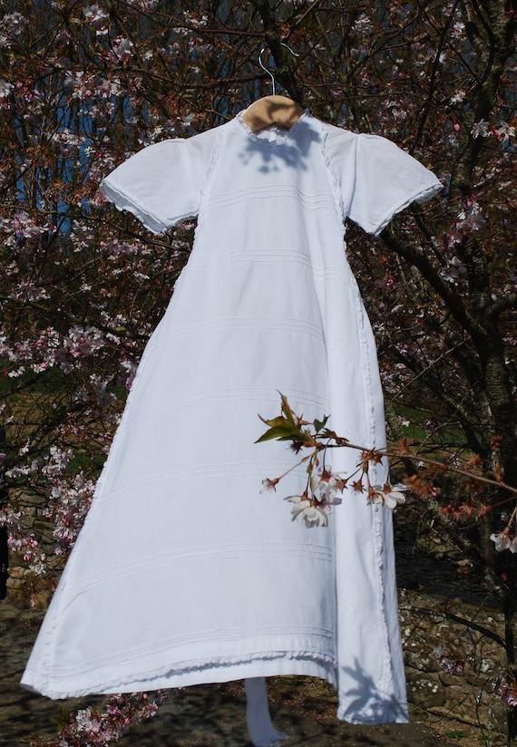 Antique Baby Gown, Lawn Cotton, White Cotton, Fren