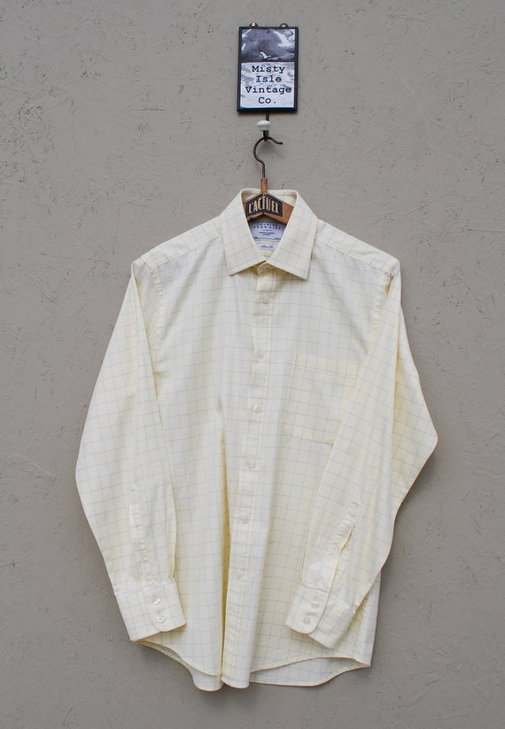 Vintage Shirt, 1990's Yellow Shirt, Checkered Shir