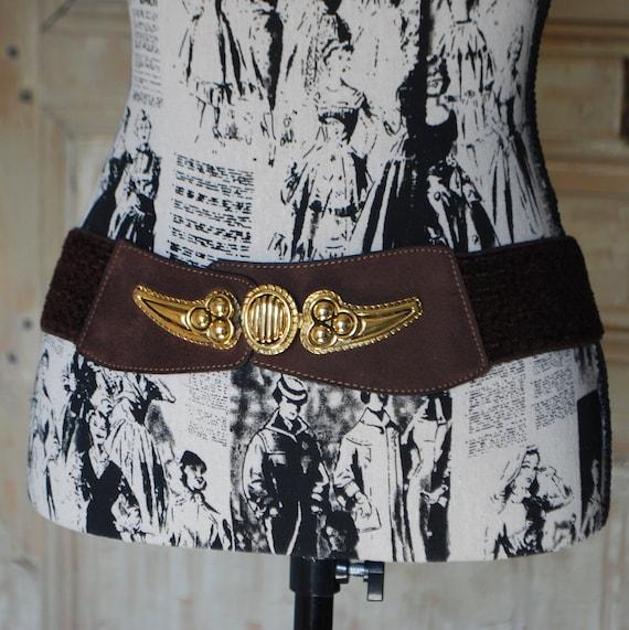 80s Belt, Vintage Brown Belt with Faux Suede, Gold
