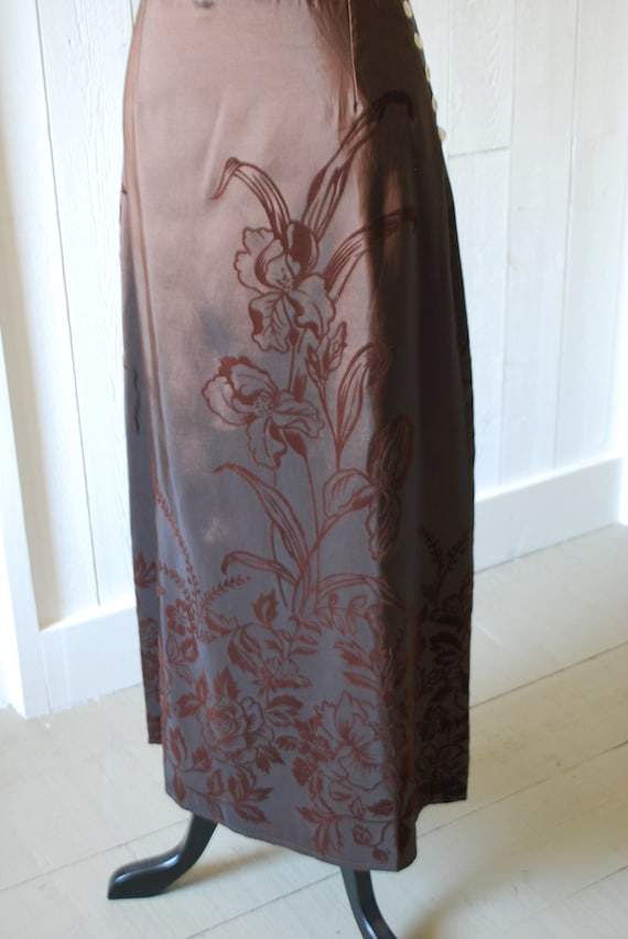 1990's Brown Skirt, Size: Small, Floral Skirt, Bo… - image 3