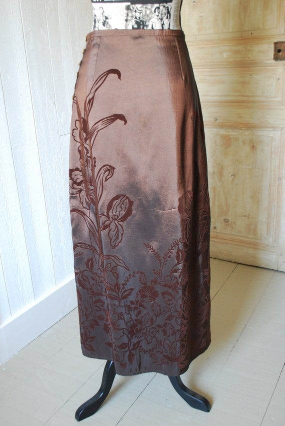 1990's Brown Skirt, Size: Small, Floral Skirt, Bo… - image 5
