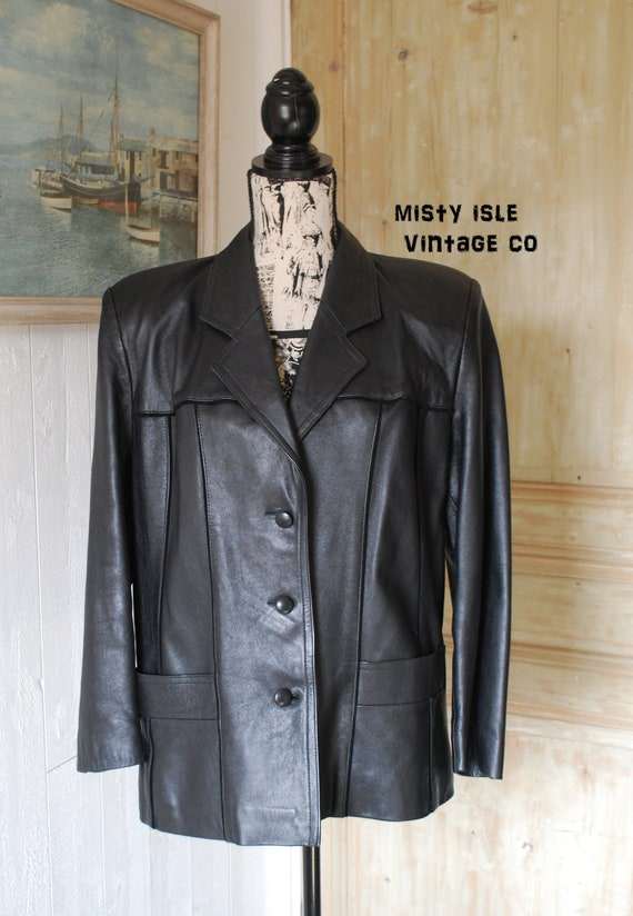Vintage Leather Jacket Women's Jacket, Black Leath