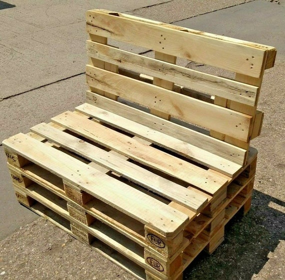Garden Bench Euro Pallet 3 Seater Recycled Rustic Wooden Outdoor Patio  Furniture