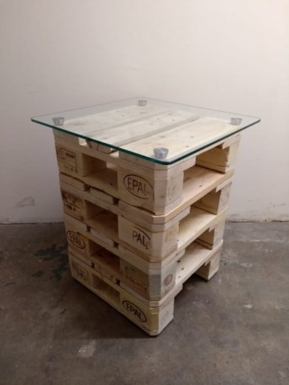 Reclaimed Pallet Wood Side End Coffee Table Stack With Square Etsy