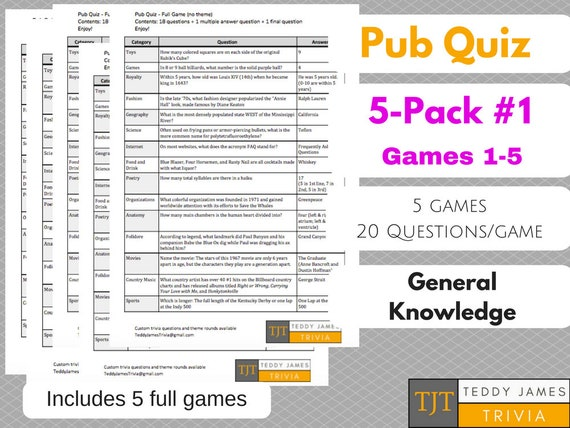100 Trivia Questions - 5-Pack of General Knowledge Questions & Answers -  Set #1
