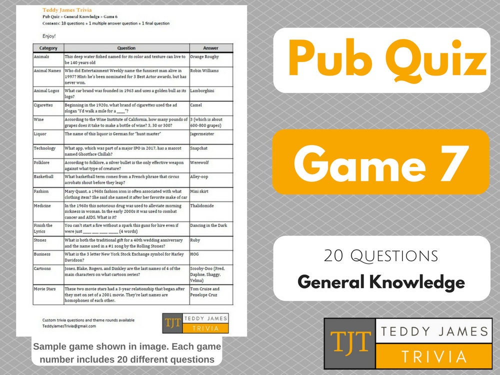 Trivia Questions for Pub Quiz - Game #7 - 20 General Knowledge Questions &  Answers