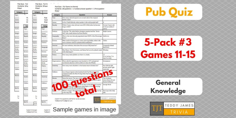 100 Trivia Questions - 5-Pack of General Knowledge Questions & Answers -  Set #3