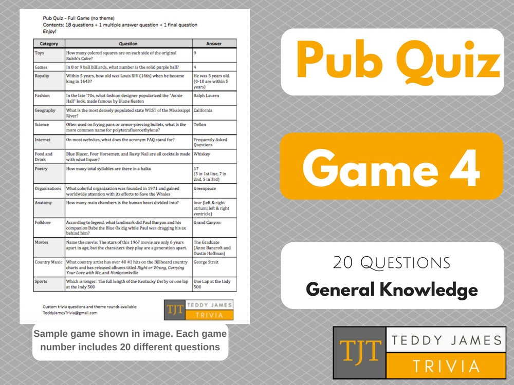 Trivia Questions For Pub Quiz Game 4 20 General Knowledge Etsy