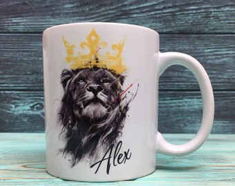 High quality ceramic coffee mug with your personal name and lion picture