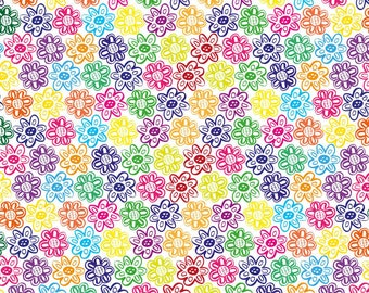 Flower Daisies Wrapping Paper - Colourful Rainbow Flowers, Unique Birthday Gift Wrap, Colorful Wrapping Paper Sheet